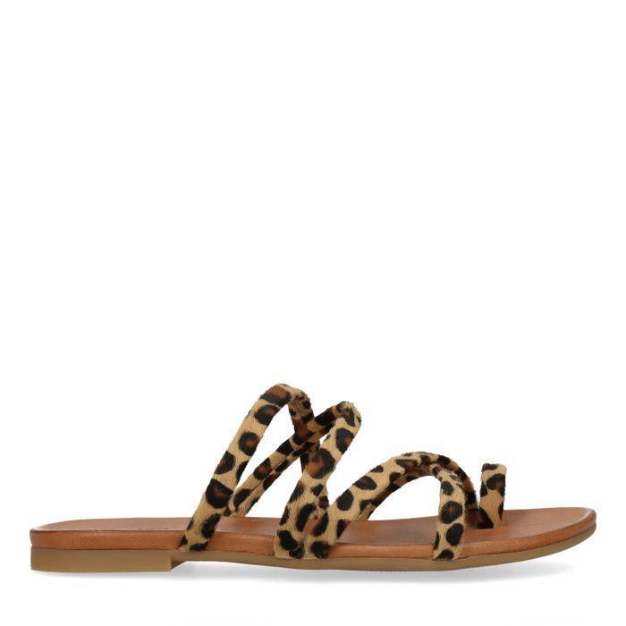 Bruine slippers met panterprint