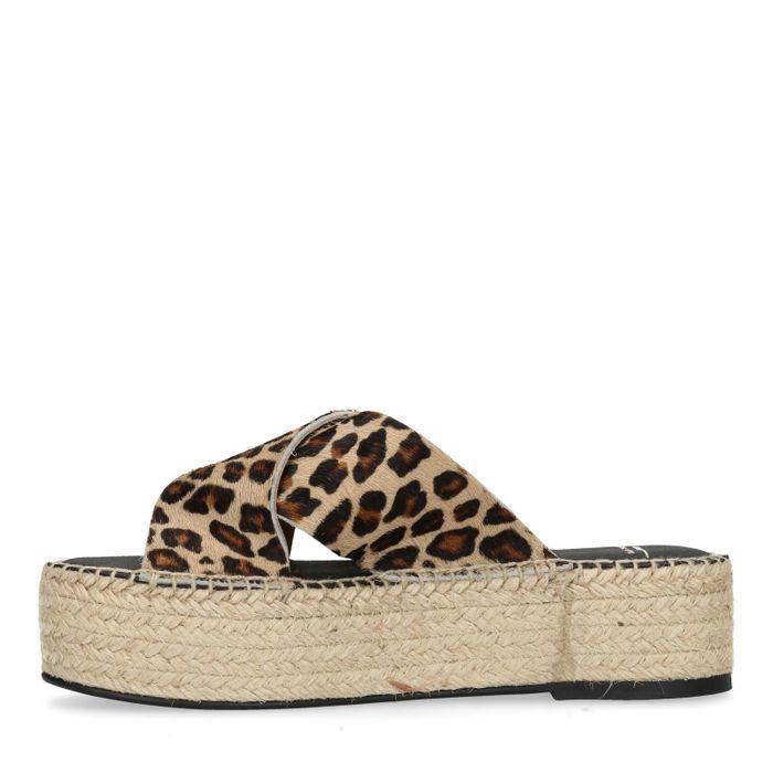 Panterprint platform slippers