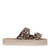 Panterprint slippers met zilverkleurige gespen