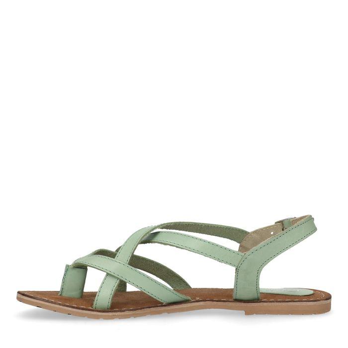 Mintgroene sandalen met gekruiste banden