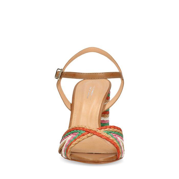 Gekleurde gevlochten sandalen met hak