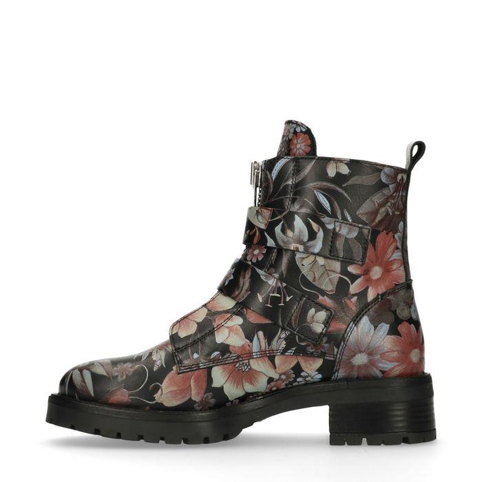 Biker boots met gespen bloemenprint