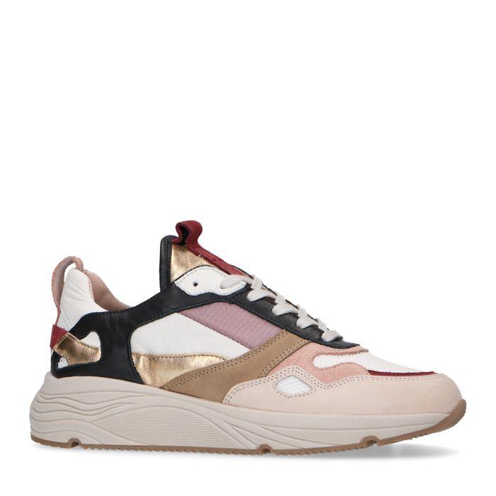 Multicolored sneakers met goudkleurige details