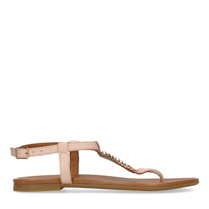 Roze sandalen met gouden details