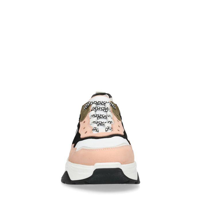 Witte dad sneakers met roze details