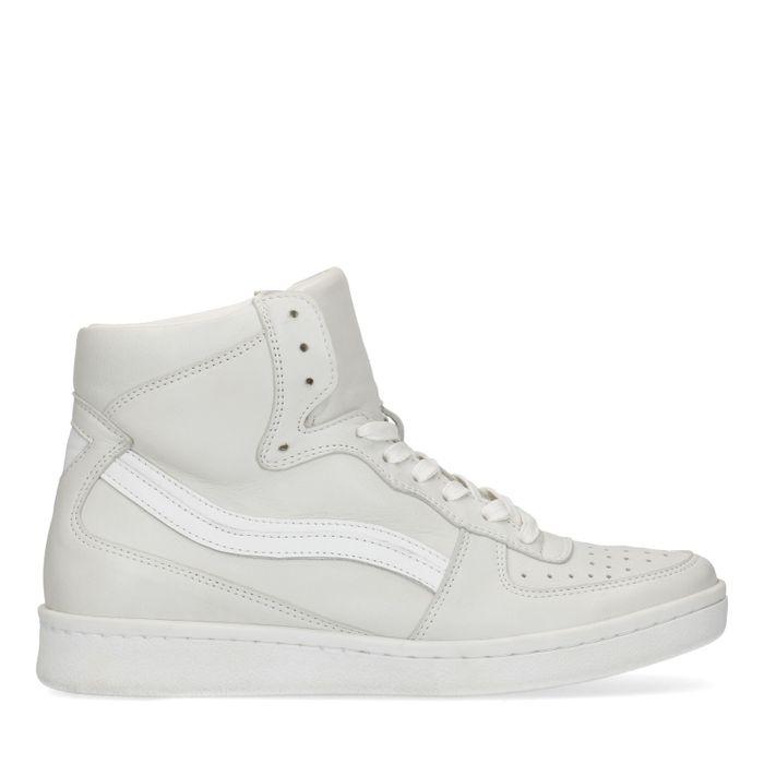 Halfhoge witte sneakers
