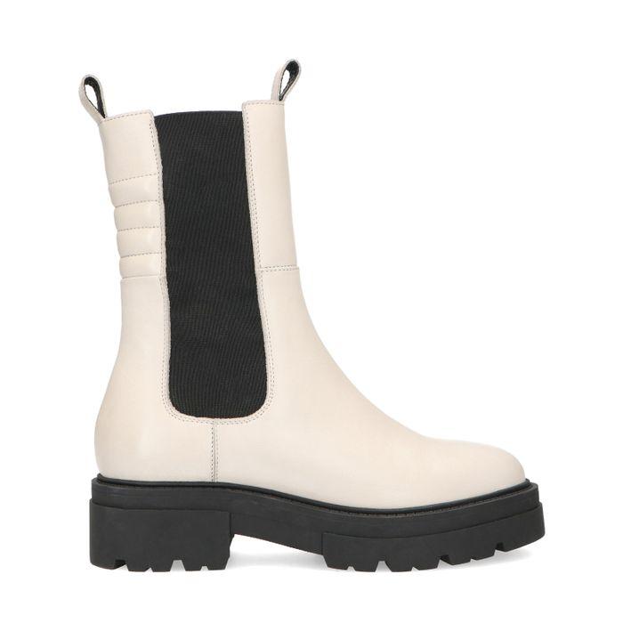 Latte leren chelsea boots