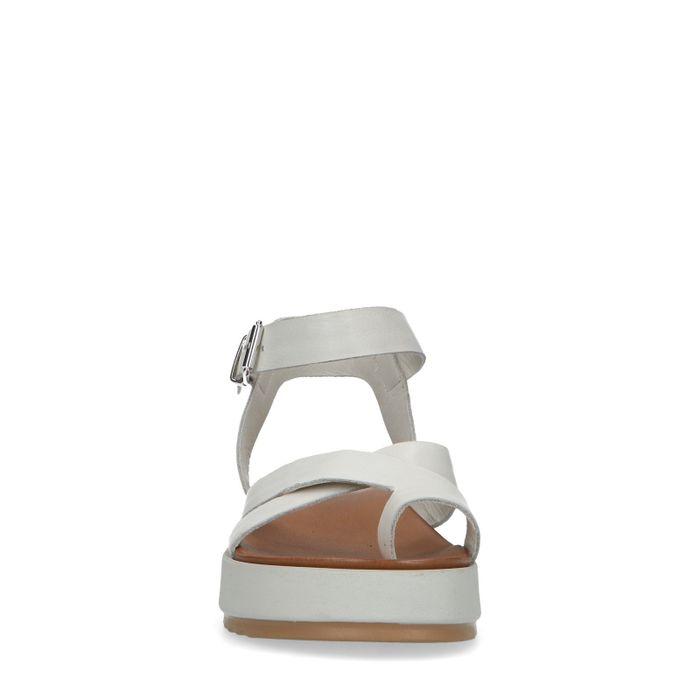 Off white leren plateau sandalen