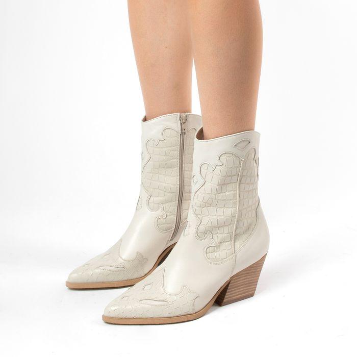 Off white leren cowboylaarzen met croco detail