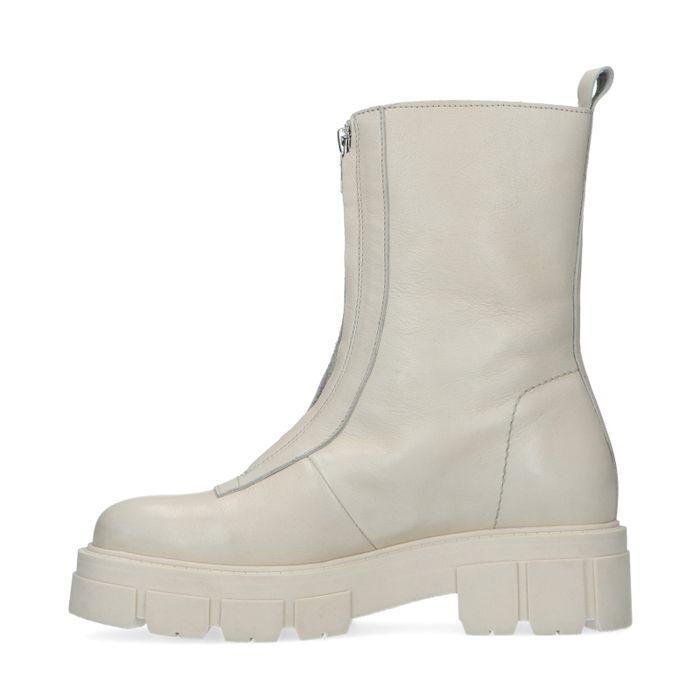 Off white leren chelsea boots met rits