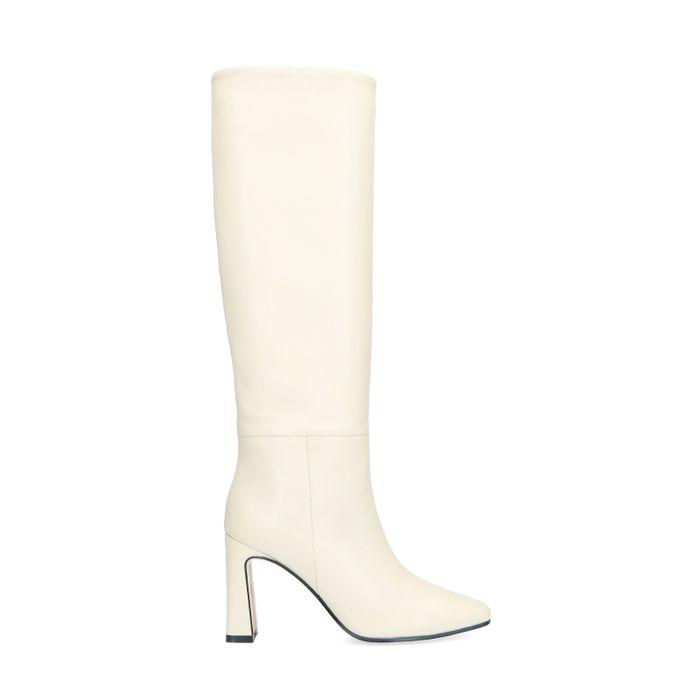 Hoge witte laarzen met hak
