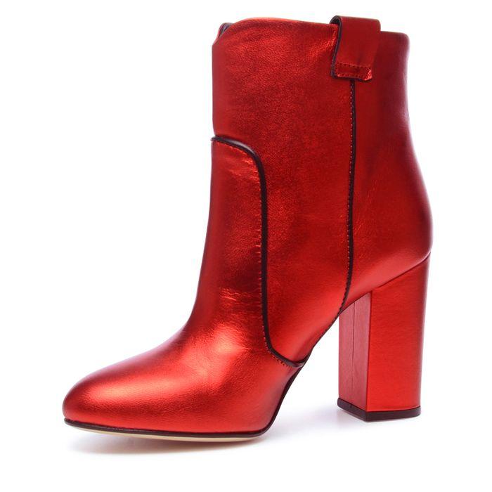 Metallic rode enkellaarsjes met hak