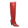 Rode leren hoge laarzen met hak