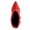 Rode enkellaarsjes met hak en studs