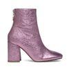 Enkellaarsjes met hak metallic roze