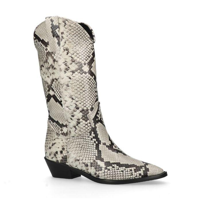 Grijze cowboylaarzen met snakeskin