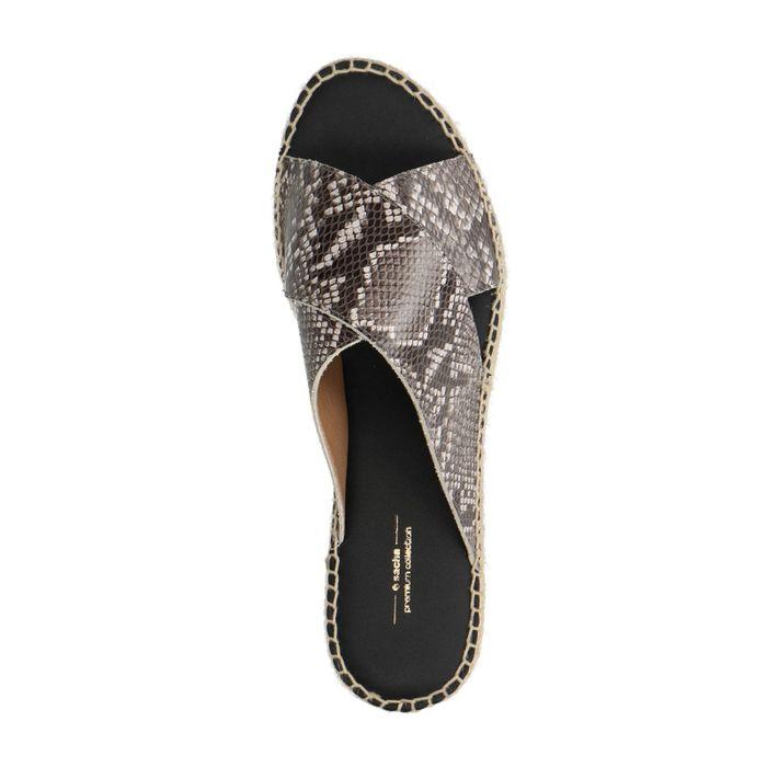 Snakeskin platform slippers