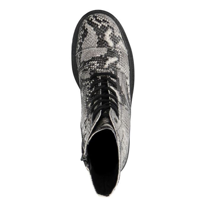 Snakeskin biker boots met plateau zool