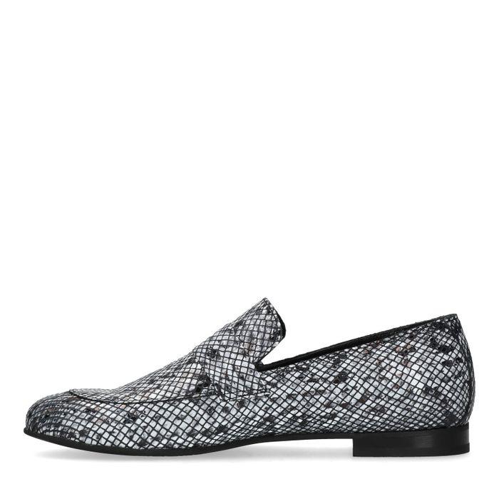 Grijze loafers met snakeskin