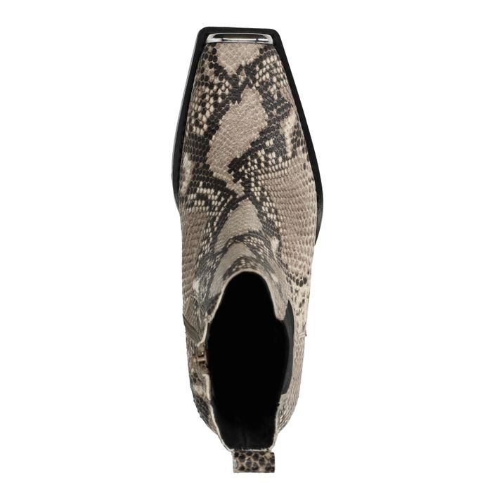 Snakeskin chelsea boots met hak