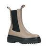 Taupe leren chelsea boots met detail