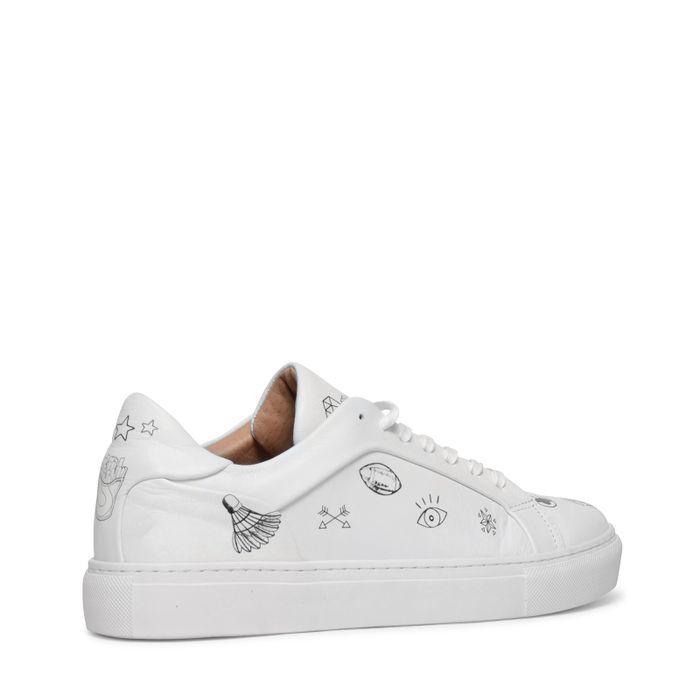 Witte lage sneakers met print