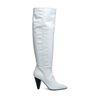 Witte leren hoge laarzen met hak