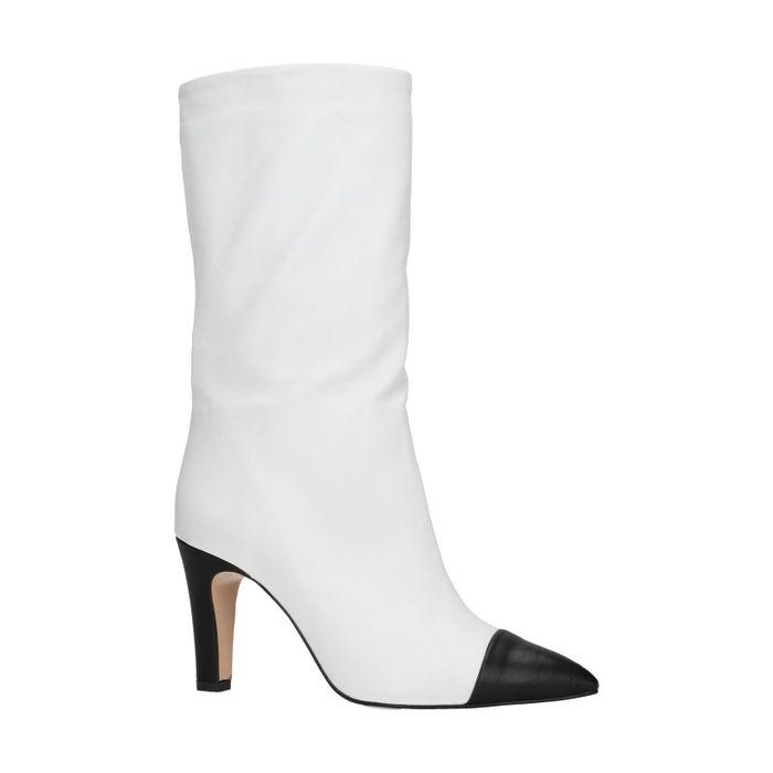 Witte korte laarzen met hak