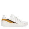 Witte plateau sneakers met panterprint