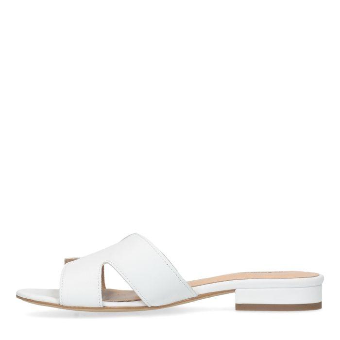 Witte leren slippers