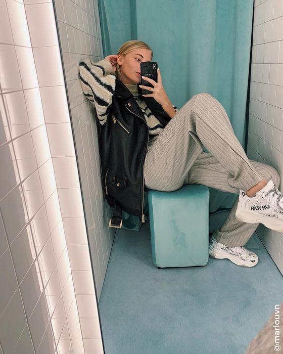 Witte dad sneakers met teksten
