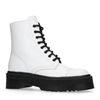 Witte leren biker boots met plateau zool