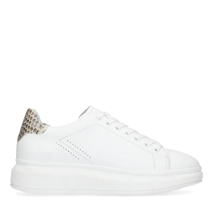 Witte platform sneakers met snakeskin detail