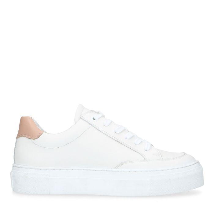 Witte leren platform sneakers
