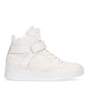Halfhoge witte leren sneakers