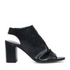 Zwarte sandalen met hak en peeptoe