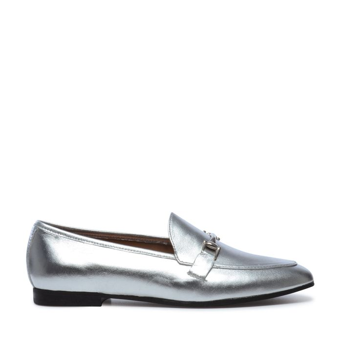 Zilveren loafers