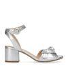 Metallic zilveren sandalen met hak