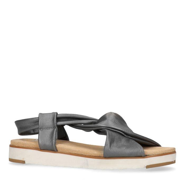 Grijze leren sandalen