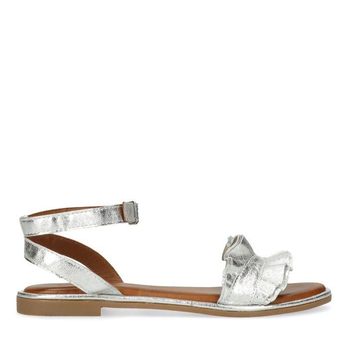 Metallic zilveren sandalen met ruffles