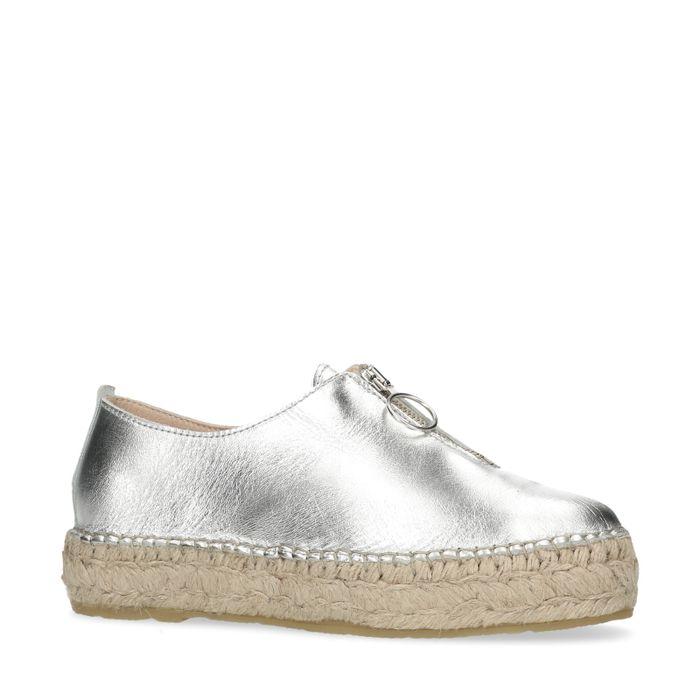 Metallic zilveren platform sneakers met rieten zool en rits