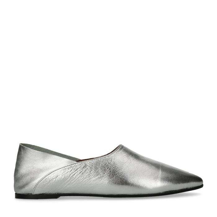 Metallic zilveren loafers