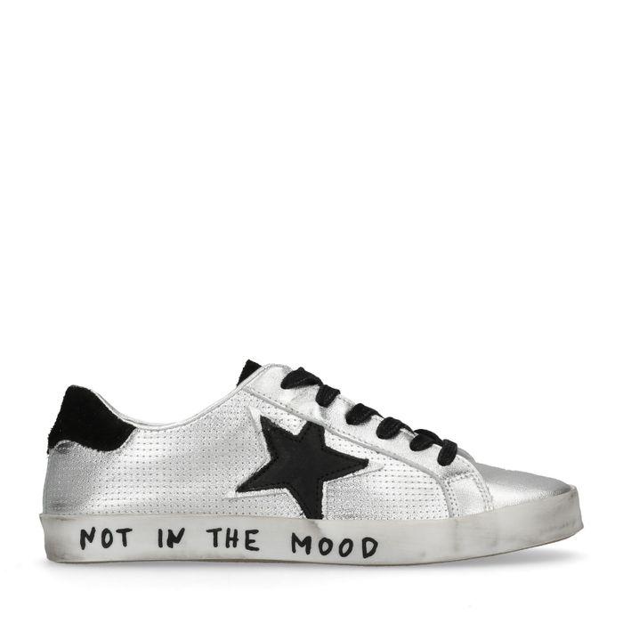 Lage metallic zilveren sneakers met ster