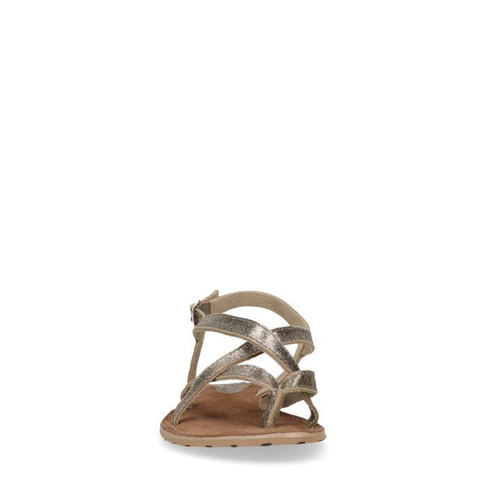 Gouden sandalen met gekruiste banden
