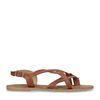 Cognac sandalen met gekruiste banden