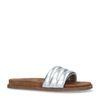 Zilverkleurige leren slippers met brede band