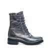 Zilveren biker boots met ruffles veter