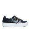 Zwarte platform sneakers met gesp