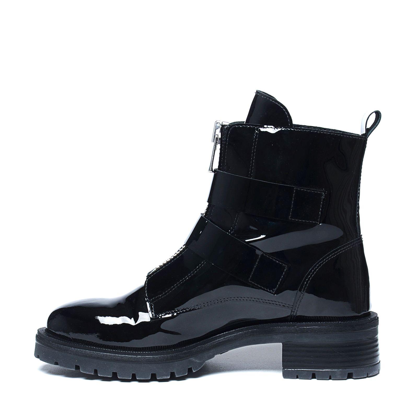 Zwarte lakleren biker boots Damesschoenen – SACHA