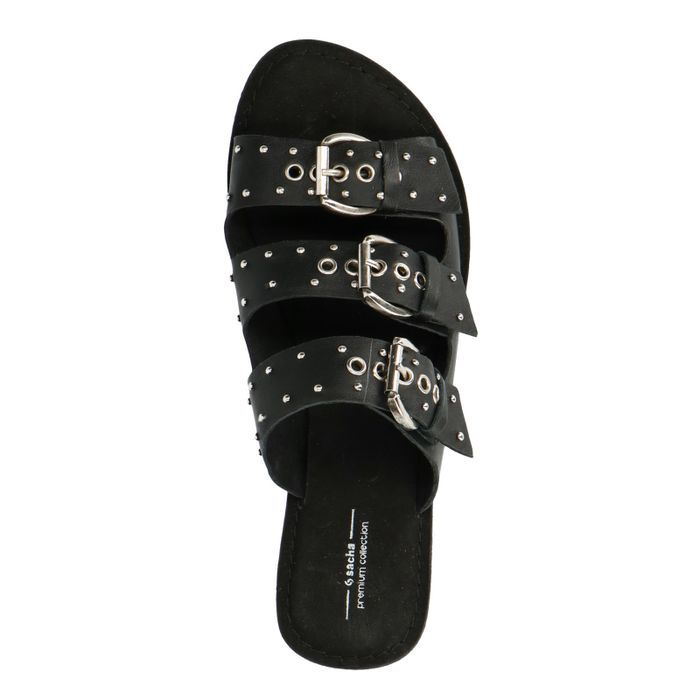 Zwarte slippers met 3 gespen